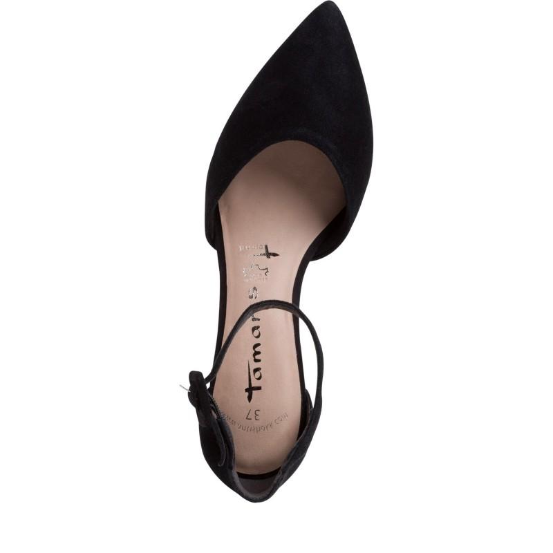 Дамски елегантни обувки на нисък ток Tamaris черни ANTISHOKK ANTISLIDE мемори пяна