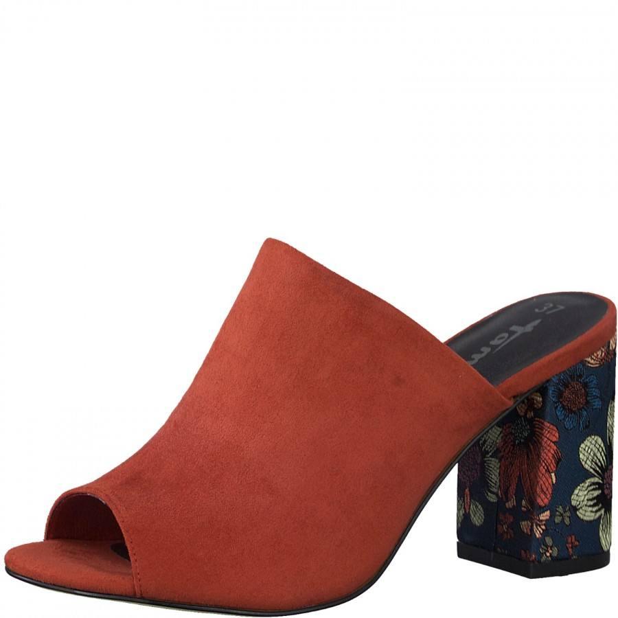 Елегантни дамски чехли на ток Tamaris оранжеви
