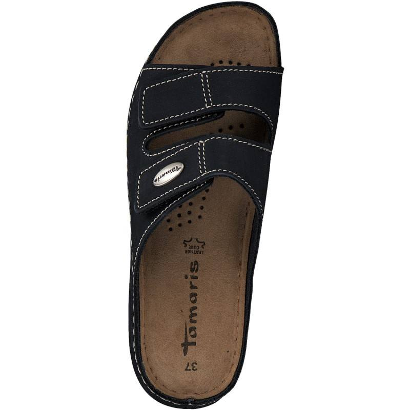 Ортопедични дамски чехли естествена кожа Tamaris сини