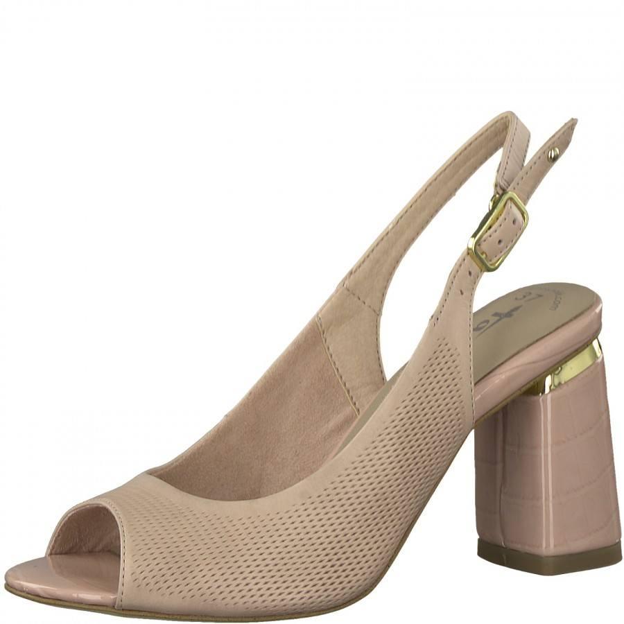 Дамски сандали на ток Tamaris розови Touch It®, ANTISLIDE®, ANTISHOKK®