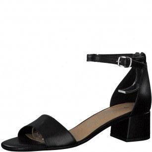 Дамски сандали на ток Tamaris естествена кожа черни