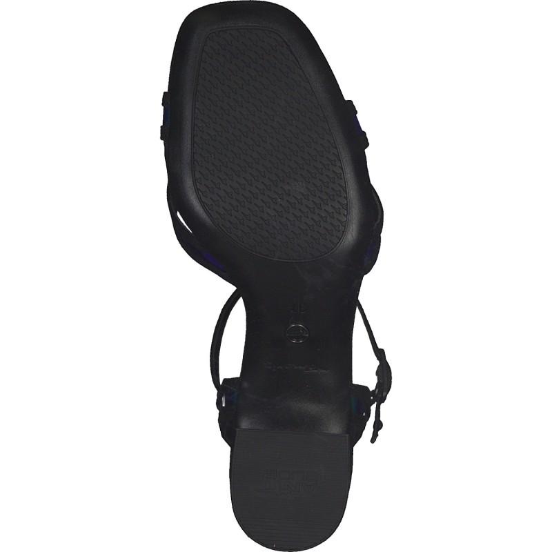 Дамски сандали на ток Tamaris мемори пяна черни/неон