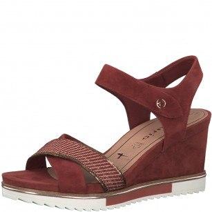 Дамски сандали на платформа Tamaris естествена кожа мемори пяна червени