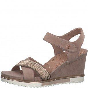 Дамски сандали на платформа Tamaris естествена кожа мемори пяна розови