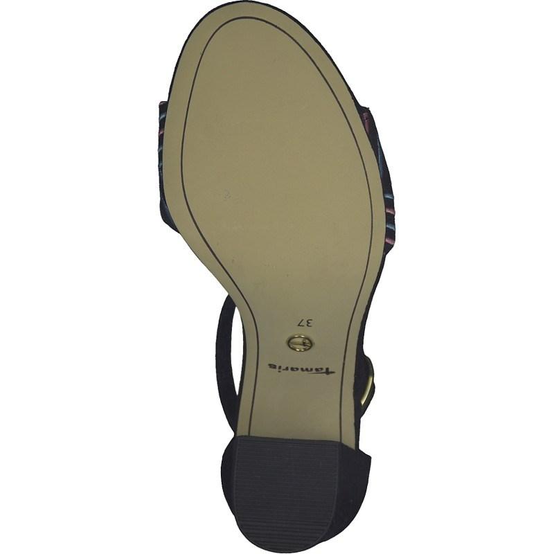Дамски сандали на ток Tamaris черни мемори пяна
