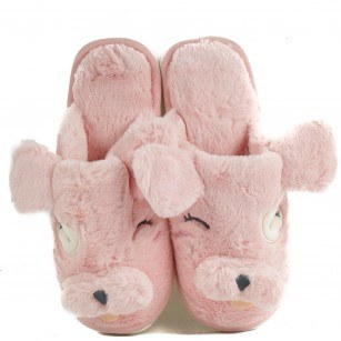 Дамски домашни чехли с пух Yoncy® розови