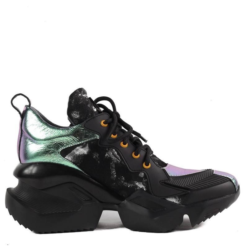 Дамски спортни обувки Yoncy® естествена кожа черни