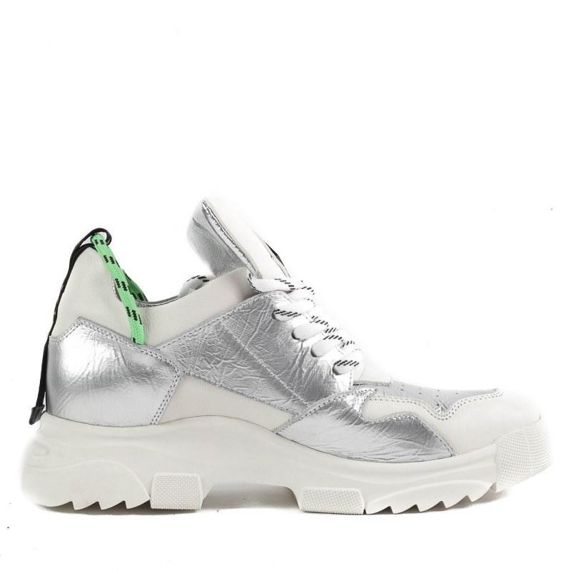Дамски спортни обувки Yoncy® естествена кожа бели/сребристи