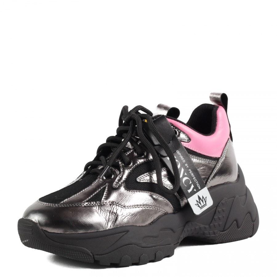 Дамски спортни обувки Yoncy® черен металик