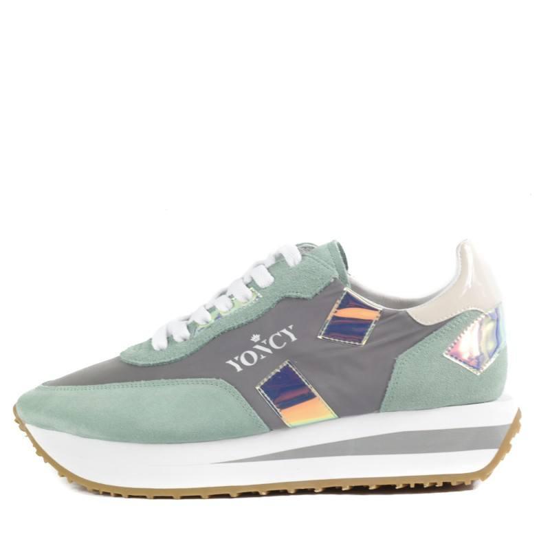 Дамски спортни обувки Yoncy® естествена кожа зелени