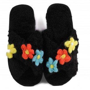 Дамски чехли с цветя Yoncy® черни