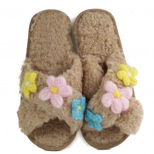 Дамски чехли с цветя Yoncy® бежови