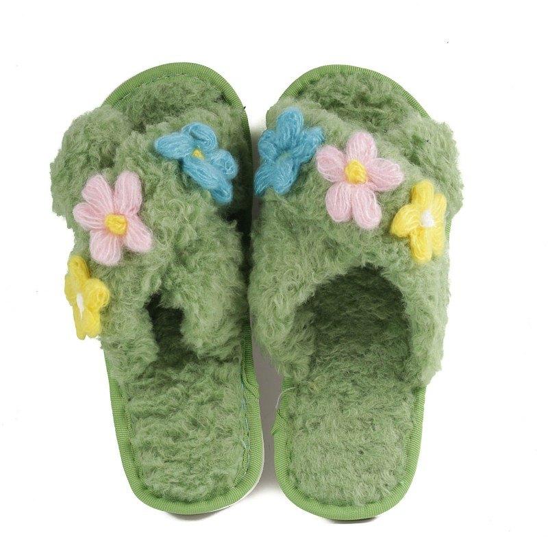 Дамски чехли с цветя Yoncy® зелени
