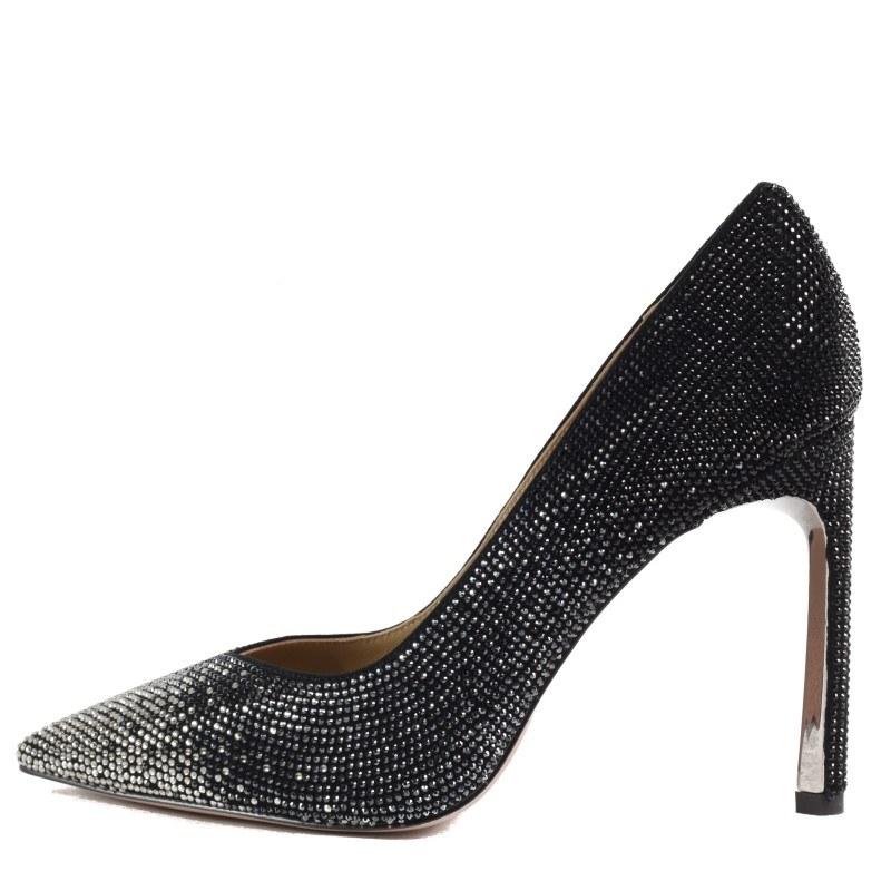 Дамски обувки на ток Yoncy® естествена кожа черни