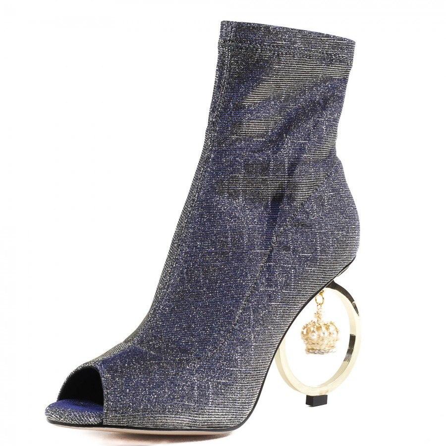 Дамски обувки на ток Yoncy® син металик