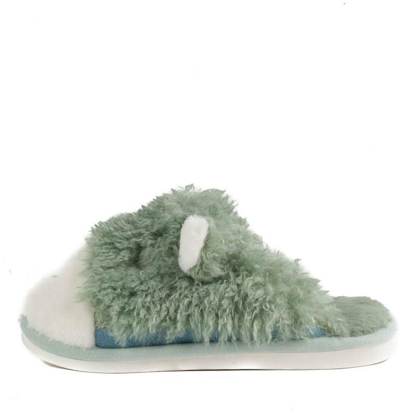 Дамски домашни чехли с пух Yoncy® зелени