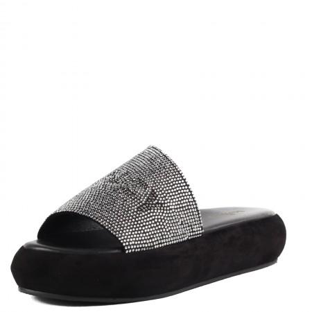 Дамски чехли на платформа Yoncy® естествена кожа черни