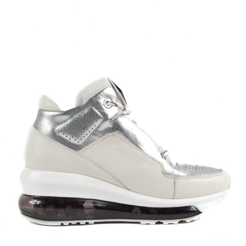 Спортни обувки Yoncy® естествена кожа бели/сребристи