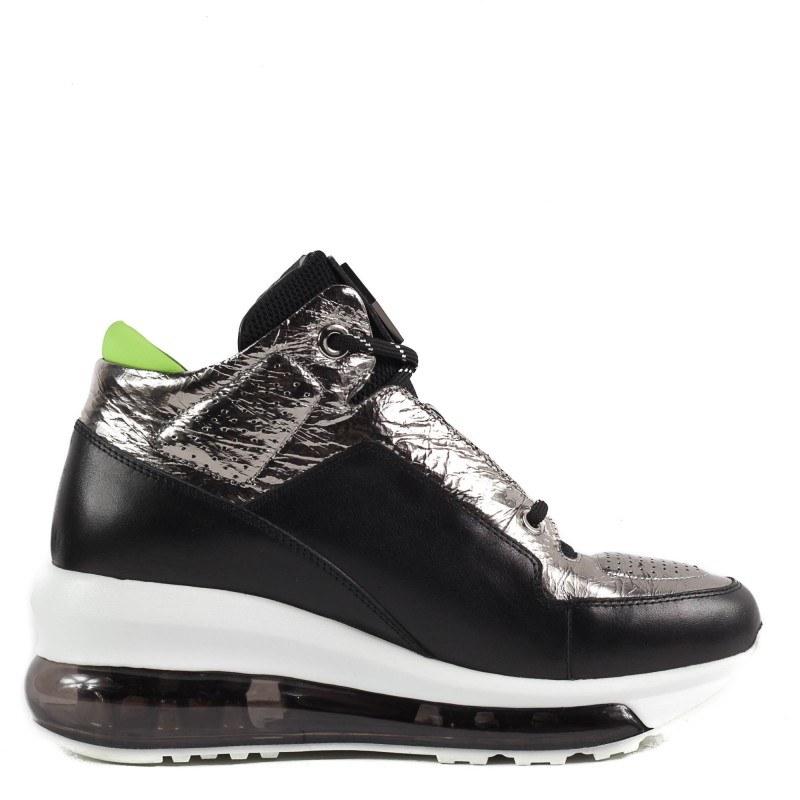 Спортни обувки Yoncy® естествена кожа черни/сребристи