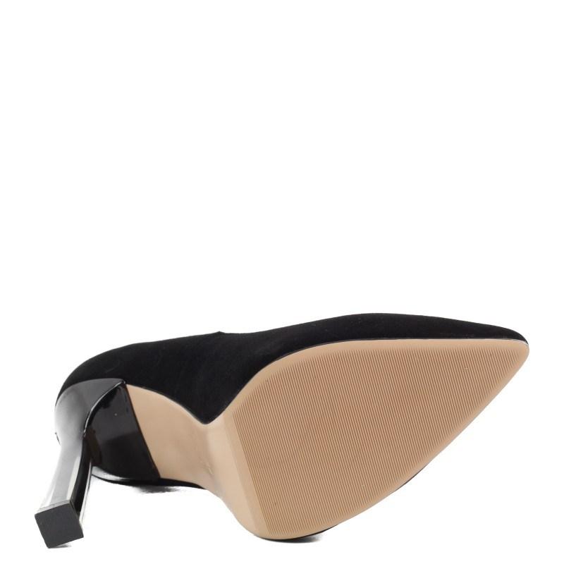 Дамски елегантни обувки на ток Yoncy® естествена кожа черни