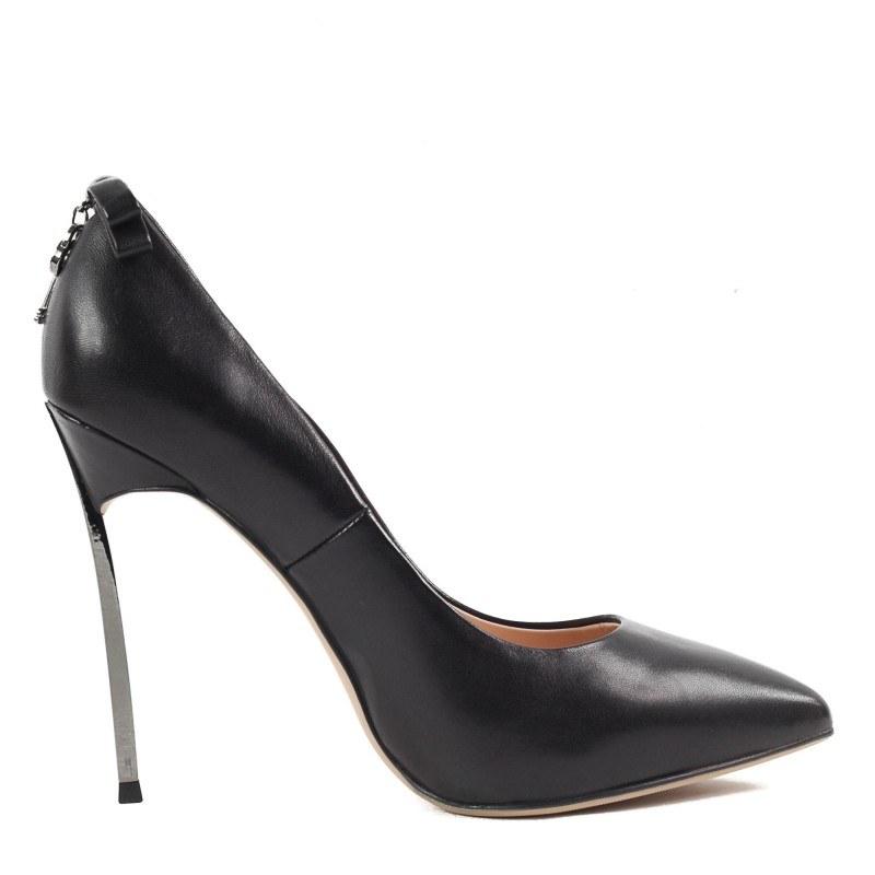 Дамски обувки на висок ток Yoncy® естествена кожа черни
