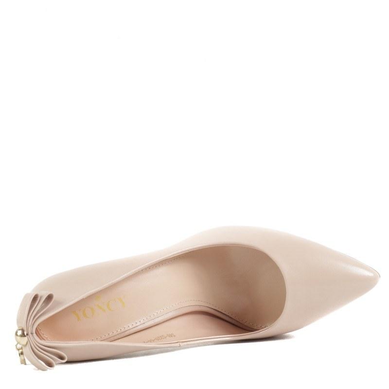Дамски обувки на висок ток Yoncy® естествена кожа бежови