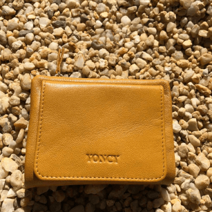 Дамски портфейл Yoncy®  естествена кожа жълт