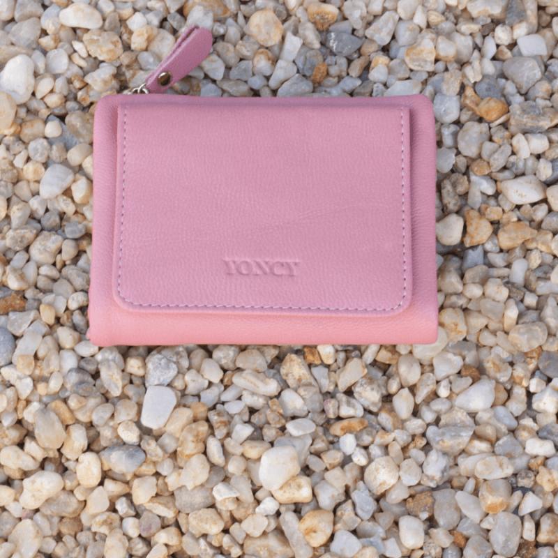 Дамски портфейл Yoncy®  естествена кожа розов