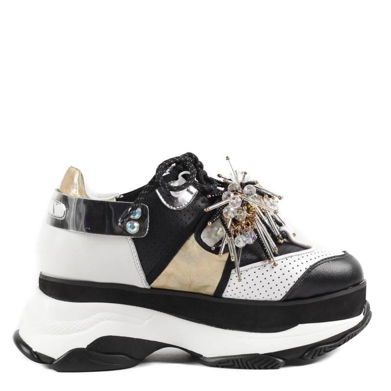 Дамски спортни обувки Yoncy® на платформа естествена кожа