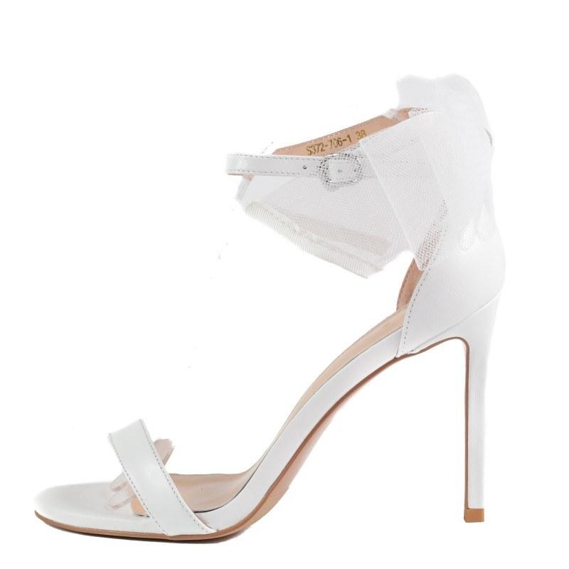Дамски елегантни сандали на ток Yoncy® естествена кожа бели