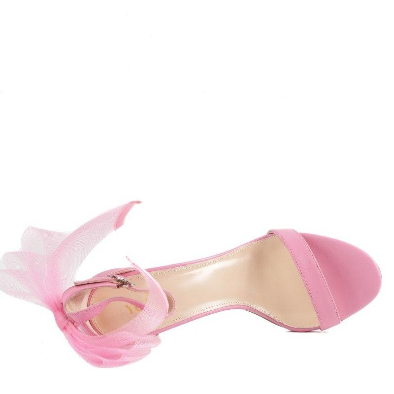 Дамски елегантни сандали на ток Yoncy® естествена кожа розови