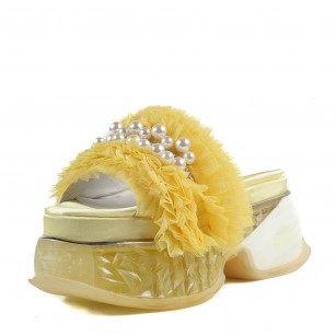 Дамски чехли Yoncy® на платформа жълти