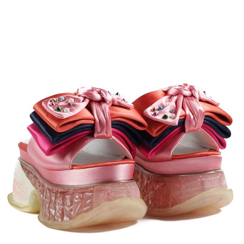 Дамски чехли Yoncy® на платформа розови