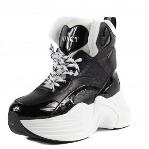 Дамски спортни обувки Yoncy® на платформа черни
