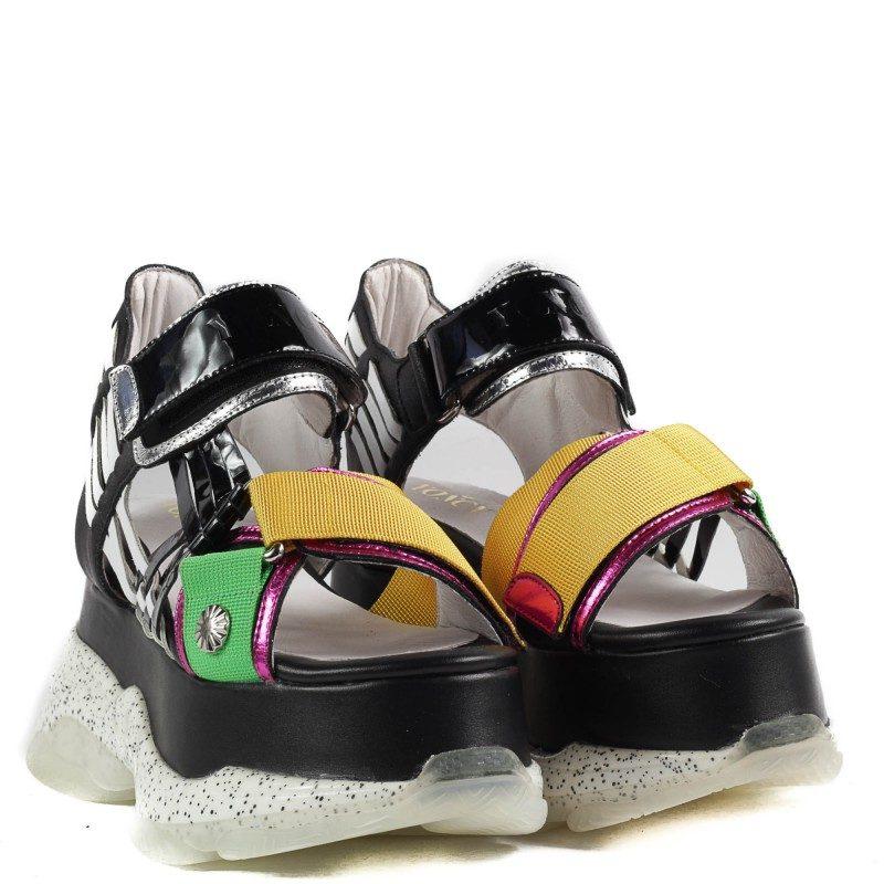 Дамски сандали Yoncy® естествена кожа на платформа черни