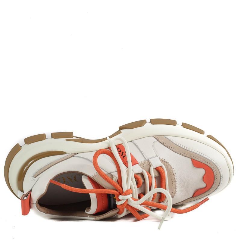 Дамски спортни обувки Yoncy® естествена кожа бели