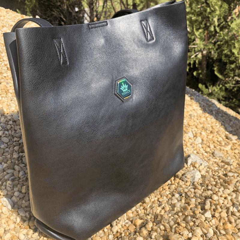 Дамска черна чанта Yoncy® естествена  кожа