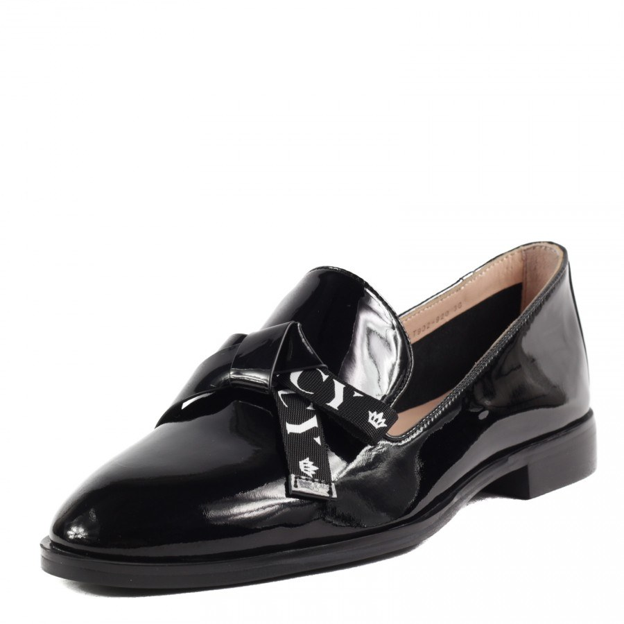 Дамски равни обувки Yoncy® естествена кожа черни