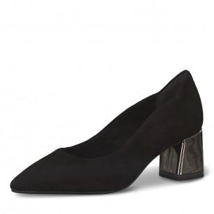 Дамски обувки на среден ток Tamaris естествена кожа черни  ANTISHOKK ANTISLIDE TOUCH IT