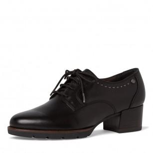 Дамски ежедневни обувки на ток Tamaris естествена кожа черни ANTISHOKK TOUCH IT