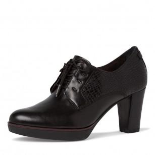 Дамски обувки на висок ток Tamaris естествена кожа черни  ANTISHOKK ANTISLIDE F1/2