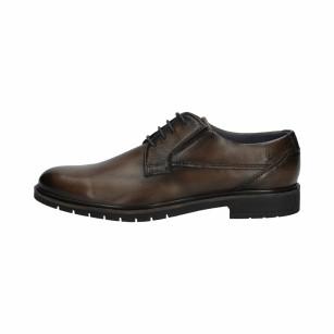 Елегантни мъжки обувки от естествена кожа Bugatti Ciriaco тъмно кафяви