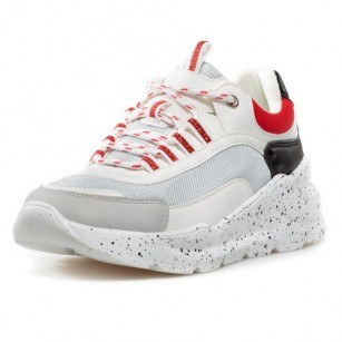 Дамски маратонки с връзки Bulldozer бели/червени