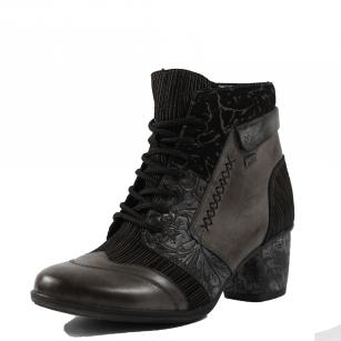 Дамски боти на ток Remonte Tex D5470-45 естествена кожа черни/сиви