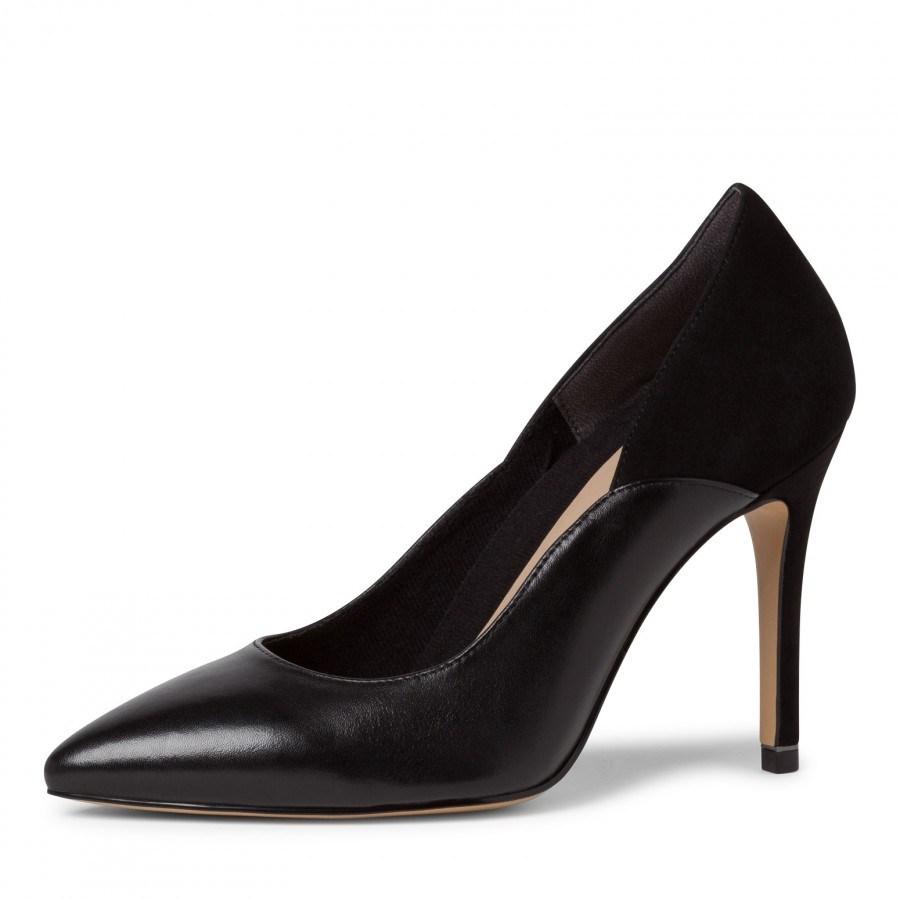 Дамски обувки на висок ток Tamaris естествена кожа черни