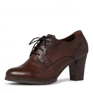 Дамски кафяви обувки на ток Tamaris естествена кожа ANTISHOKK ANTISLIDE TOUCH IT F1/2