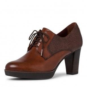 Дамски обувки на висок ток Tamaris естествена кожа кафяви  ANTISHOKK ANTISLIDE F1/2