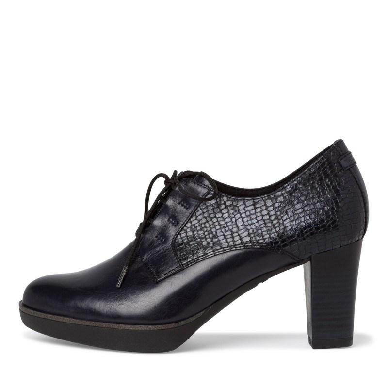 Дамски обувки на висок ток Tamaris естествена кожа тъмно сини  ANTISHOKK ANTISLIDE F1/2