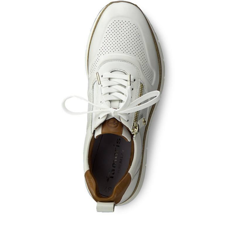 Дамски спортни обувки Tamaris естествена кожа бели на платформа PURERELAX
