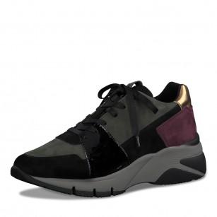 Дамски спортни обувки на платформа Tamaris черни/зелени